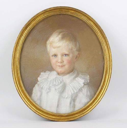 English School (early 20th century)An oval portrait of a young boyPastelUnsigned 17.25 x 15 (44 cm x