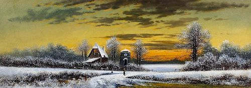 A. H. Cole (20th century)A pair of pastoral landscapes, one a winter scene Oil on board One signed l