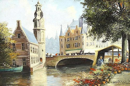 J. L. Dispo (Dutch, 1922-1973)An Amsterdam canal scene Oil on panelSigned lower right5 x 6.75 (12.5