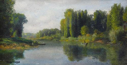 Attributed to Charles Etienne Corpet (French, 1831-1903)St. Maur', a river scene with figures boatin