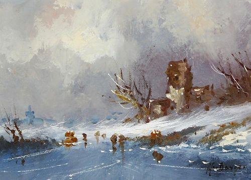 Harrij/Harry van Dongen (Dutch, 1909-?)A winter scene with figures on a frozen lakeOil on boardSigne
