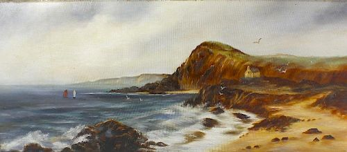 Oil on canvas (Modern) Coastal scene with distant Cliffside cottage Unsigned 30.5 x 12.5 (77.5 cm x