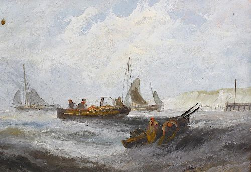 A 19th century oil on panel Harbour scene with small boats upon a choppy sea 14.5 x 10.5 (37 cm x 26