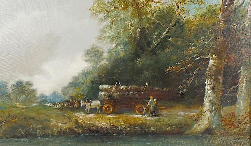 Oil on canvas Logging scene with river to the fore Indistinctly signed to lower right hand corner 29