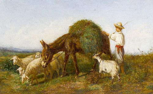 Oil on canvas Continental harvest scene with young farmer beside donkey, goats and sheep Unsigned 21