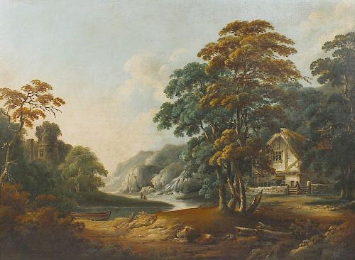 Circle of Alexander or Patrick Nasmyth (Scottish c.1800)A river landscape with anglers and figures b