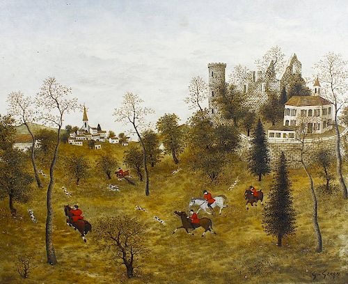 Maurice Ghiglion-Green (French, 1913-1989) Hunting scene with mounted riders and dogs before buildin