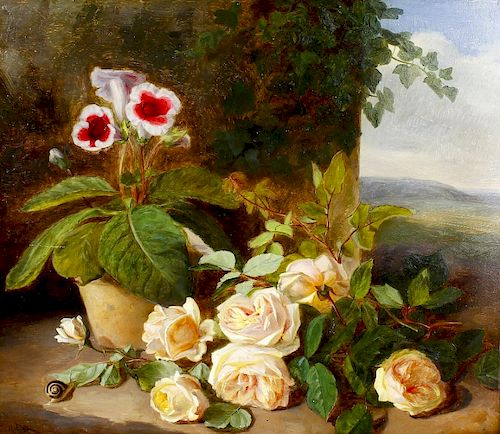 C. Robert (late 19th century)Still life with pink roses, potted plant and snail before a landscape O