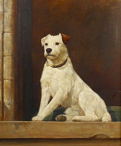 Oil on canvas (late 19th/early 20th century) Portrait study of a terrier Signed to lower right hand