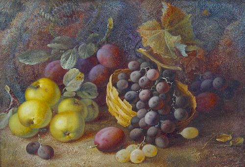 Vincent Clare (1855-1930)Still life scene with basket of grapes beside apples and plumsSigned to low
