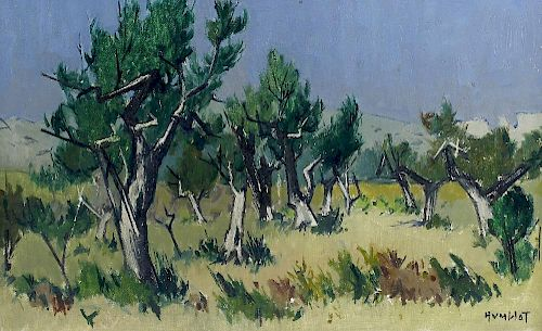 Robert Humblot (1907-1962) Woodland clearing Oil on canvas Signed lower right hand corner 23.5 x 14.