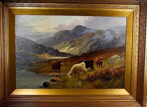 Charles W. Oswald (fl. 1890-1899) A pair of oils on canvas Landscapes with highland cattle Signed C.