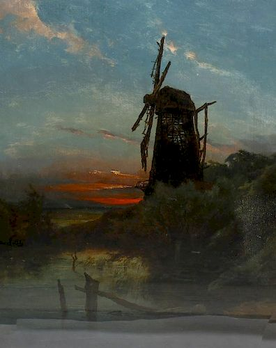 Ex Tommy Tranter Collection: A late 19th century oil on canvas Rural landscape with a windmill at su