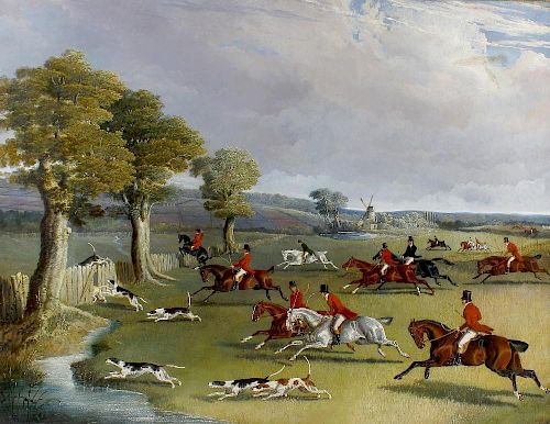 John Frederick Herring, Senior, (1795-1865) Full Cry; huntsmen and hounds in an open landscape appro