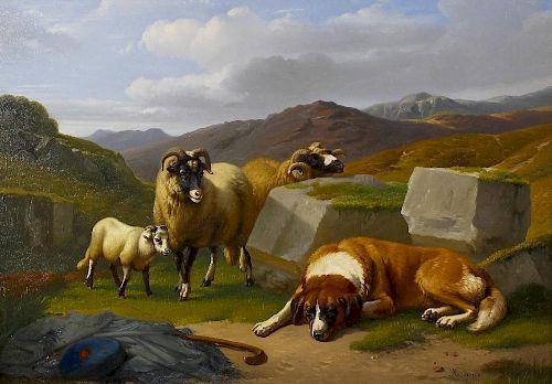 Adolphe Robert Jones (Belgian, 1806-1874) Mountain scene with sleeping dog and sheep beside a pile o