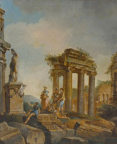 Attributed to Giovanni Pannini (1691-1765)Figures amongst ruins in a classical landscapeOil on canva