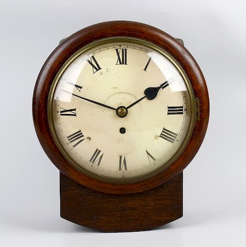 A small mid 19th century oak-cased single-fusee wall clock With 8-inch cream-painted convex Roman di