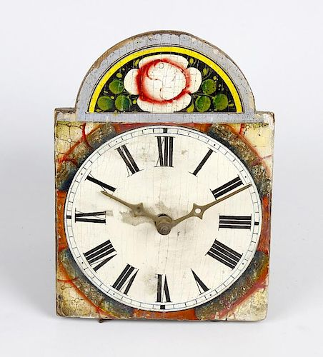 A small German wall timepiece The 5-inch break-arched painted Roman dial with floral arch, the wood-