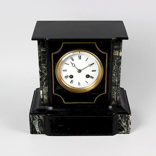 A late 19th century French black slate mantel clock. The 3.5 white Roman dial with Breguet dials, th