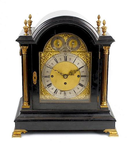 A good late 19th century ebonised triple fusee bracket or table clock The 8-inch arched brass dial h