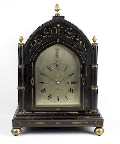 An early Victorian gothic revival ebonised triple fusee bracket or table clock Widenham, London The