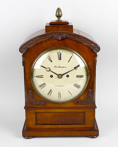 A second quarter 19th century mahogany twin fusee bracket clock The 8-inch cream-painted convex Roma