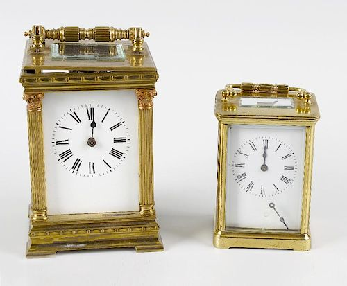 Two brass carriage clocks to restore. Comprising: An Anglaise-cased example with two train movement