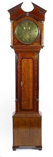 An early 19th century oak and mahogany-cased 8-day brass dial longcase clock Simeon Shole, Deptford,