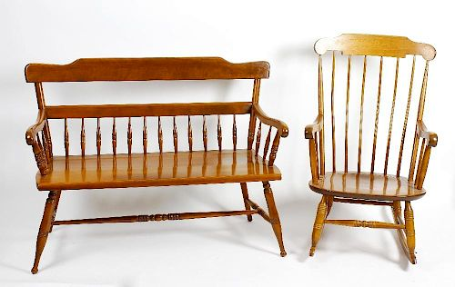 A group of American 'Ethan Allen' maple furniture. To include rocking chair, two seater settle or be