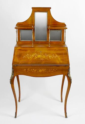 An inlaid rosewood bureau de dame. Circa 1900, the shaped superstructure with central long mirror be