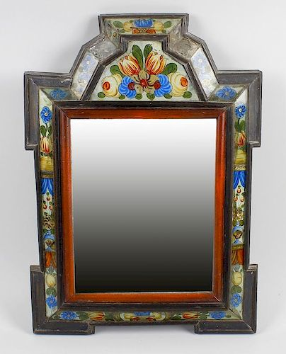An antique Dutch wall mirror. The rectangular plate within wooden ogee-arched frame having inlaid gl