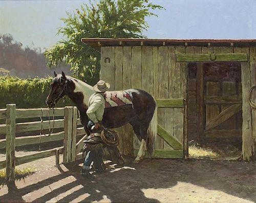 Olaf Wieghorst | 1899 - 1988 | Saddling his Mount