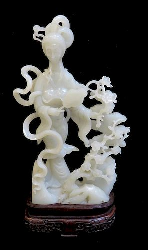 White Jade Chinese Lady Carving