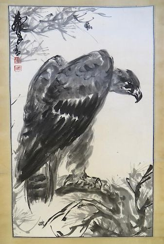 Chinese Watercolor Of A Vulture
