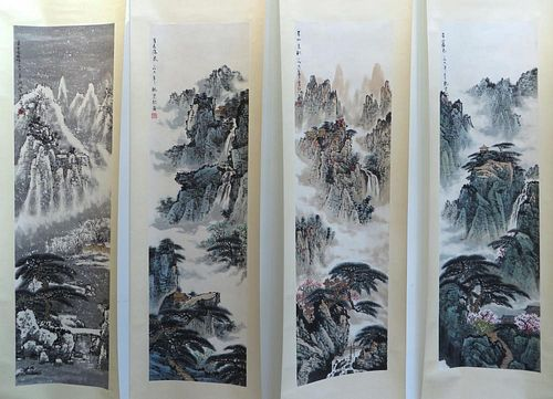 Set Of Four Chinese Watercolor Scroll