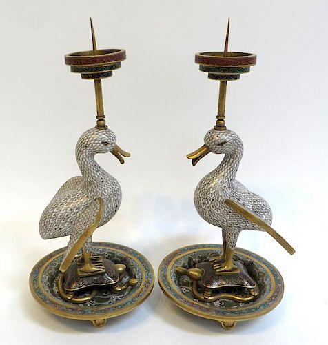 Pair 19th. Cloisonne Duck Form Candle Sticks