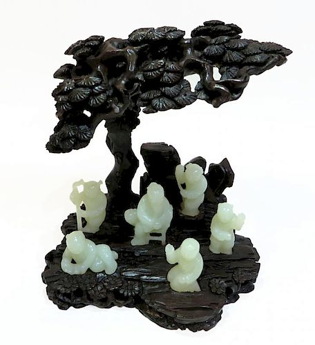 Carved Zitan And White Jade