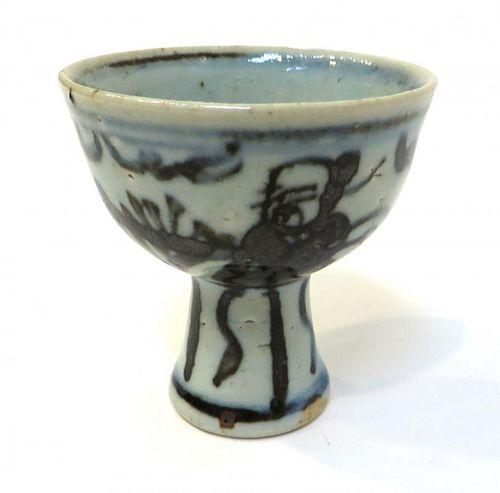 Antique Blue & White Wine Cup