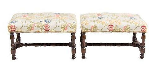 A Pair of William and Mary Style Walnut Benches Height 29 x width 17 x depth 16 inches.
