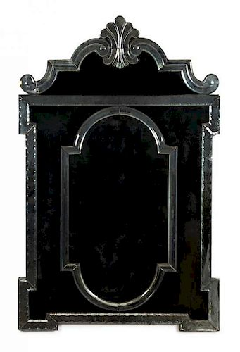A Pair of Venetian Glass Mirrors Height 56 1/2 x width 36 1/2 inches.