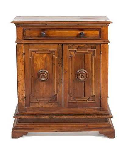 An Italian Walnut Side Cabinet Height 36 1/2 x width 30 1/2 x depth 12 1/2 inches.