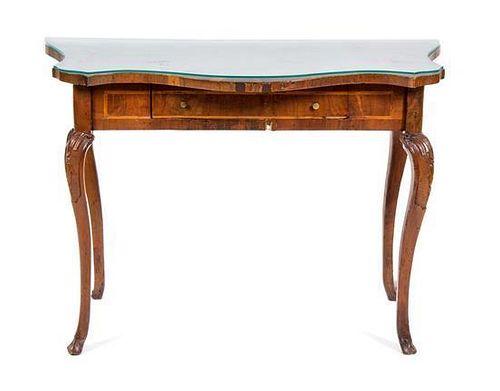 An Italian Walnut Console Table Height 31 1/4 x width 45 x depth 23 1/2 inches.