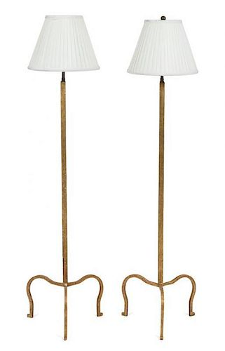 A Pair of Gilt Metal Floor Lamps Height 54 inches.