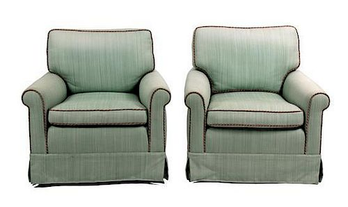 A Pair of Upholstered Armchairs Height 33 x width 32 x depth 28 inches.