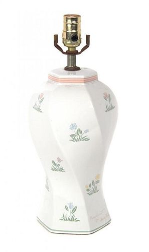 A Ceramic Vase Height overall 16 1/2 inches.