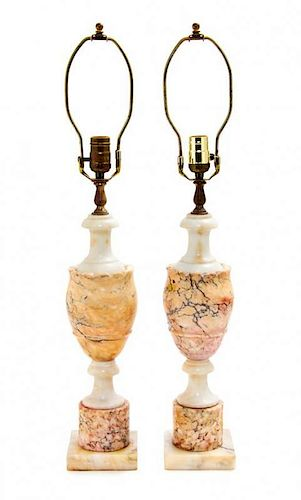 A Pair of Alabaster Table Lamps Height 27 1/2 inches.