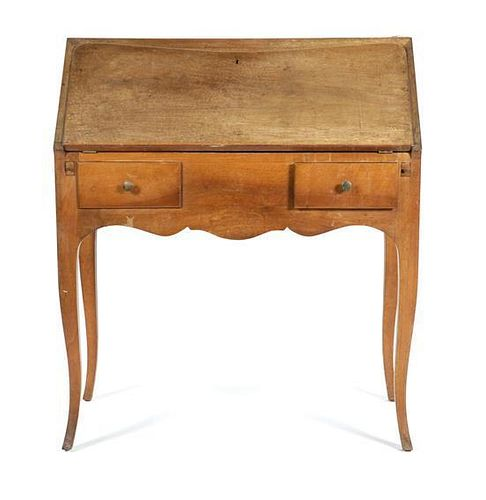 A Slant Front Desk Height 39 inches x width 33 7/8 inches x depth 17 1/2 inches (closed); depth 30 inches (open).