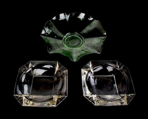 A Group of Glass Items Diameter of larger bowl 12 inches.