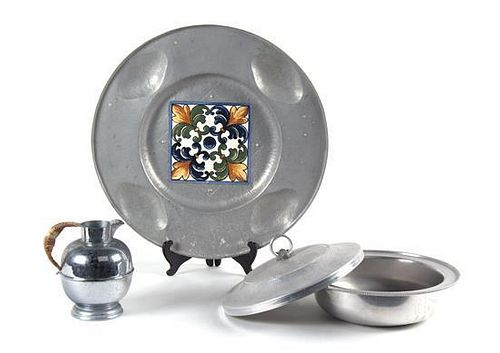A Group of Pewter Items Diameter of tray 16 1/2 inches.