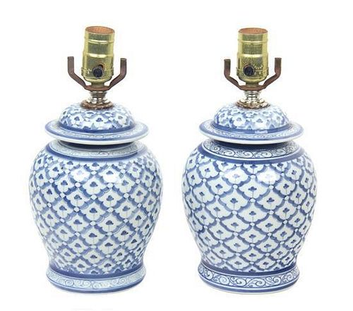A Pair of Blue and White Ceramic Table Lamps Height overall 11 inches (each).